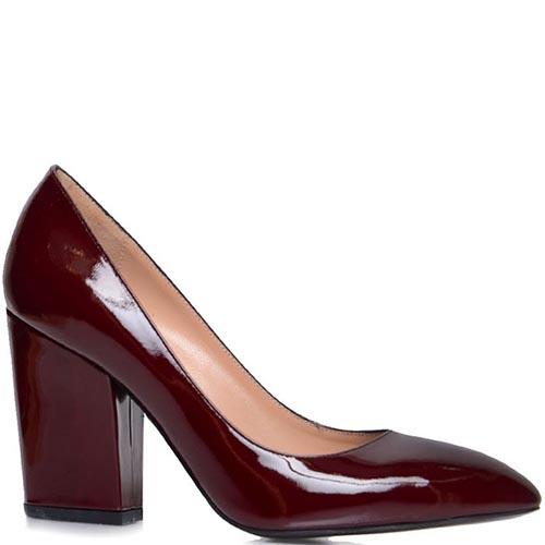 Туфли Prego бордового цвета на высоком толстом каблуке, фото