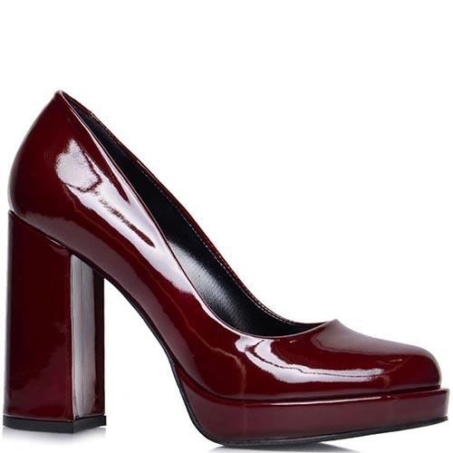 Туфли Prego из лакированной кожи бордового цвета на платформе, фото