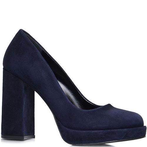 Туфли Prego из натуральной замши синего цвета на платформе, фото