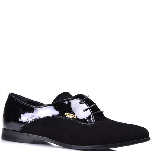 Черные женские туфли на шнуровке Pier Lucci из замши и лаковой кожи, фото
