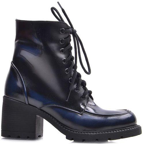 Ботинки Prego из натуральной глянцевой кожи с сине-черным градиентом, фото