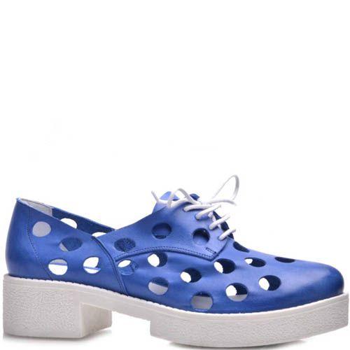 Ботинки Prego синего цвета с крупной перфорацией на толстом каблуке, фото