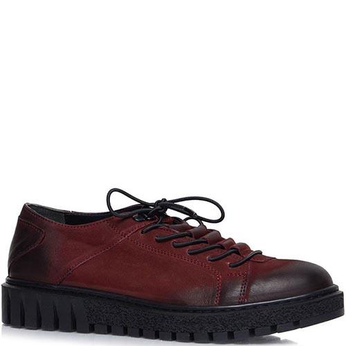 Туфли Prego из натурального нубука бордового цвета на толстой подошве, фото