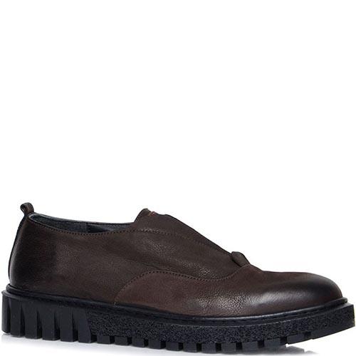 Туфли Prego коричневого цвета на толстой подошве со вставкой-резинкой, фото