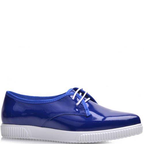 Туфли Prego лаковые синего цвета на белой подошве, фото