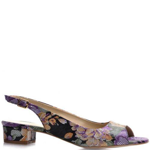 Босоножки Prego с цветочным узором на устойчивом каблуке, фото