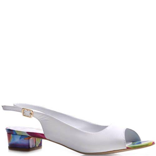 Босоножки Prego белого цвета с цветным каблуком и подошвой, фото