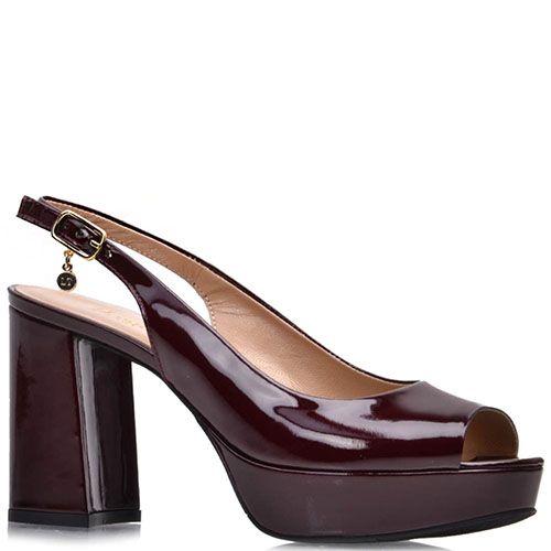 Лаковые босоножки Prego из кожи бордового цвета на платформе с высоким каблуком, фото