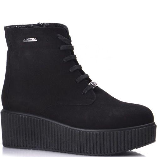 Черные замшевые женские ботинки на рифленой платформе Lottini на молнии, фото