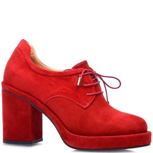Ботильоны на шнуровке Prego из натуральной замши красного цвета, фото