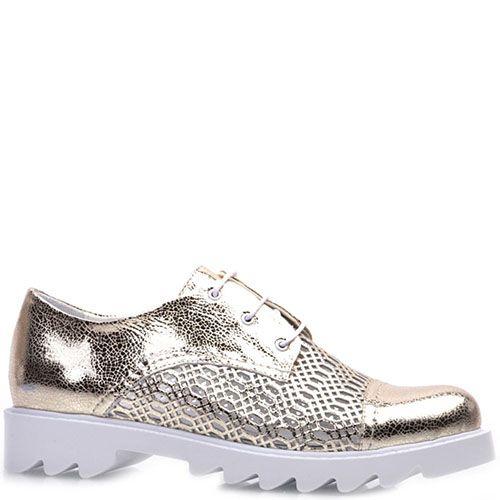 Туфли Prego из натуральной кожи золотистого цвета на белой подошве, фото