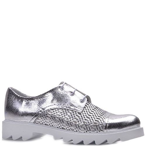 Туфли Prego из натуральной кожи серебристого цвета с узорчатой перфорацией, фото