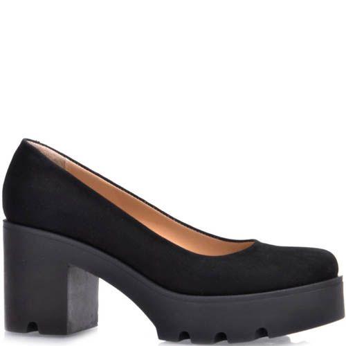Туфли Prego замшевые на устойчивом каблуке и танкетке черного цвета, фото