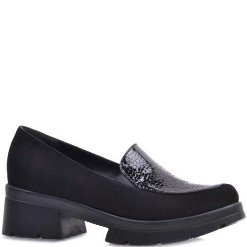 Туфли Prego замшевые черного цвета с лаковой вставкой под кожу змеи, фото