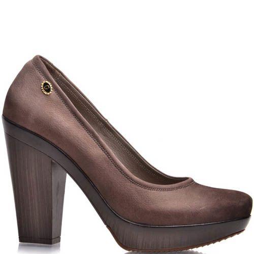 Туфли Prego кожаные коричневого цвета на толстом каблуке, фото