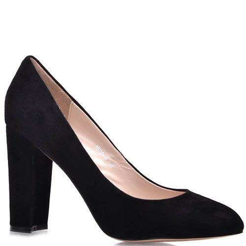 Замшевые туфли-лодочки Prego черного цвета на высоком каблуке, фото