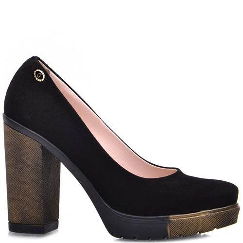 Туфли Prego из натуральной черной замши с коричнево-черной подошвой и высоким каблуком, фото
