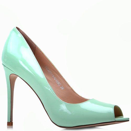 Лаковые туфли Prego из натуральной кожи мятного цвета с открытым носочком на шпильке, фото