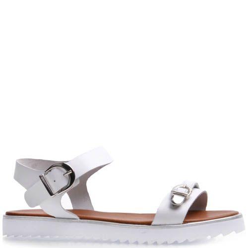 Сандалии Prego спортивные белого цвета с рельефной подошвой и металлическими пряжками, фото