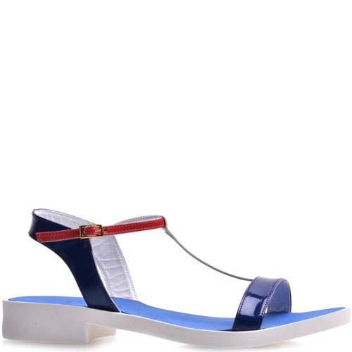 Сандалии Prego синие с красным на толстой белой подошве, фото