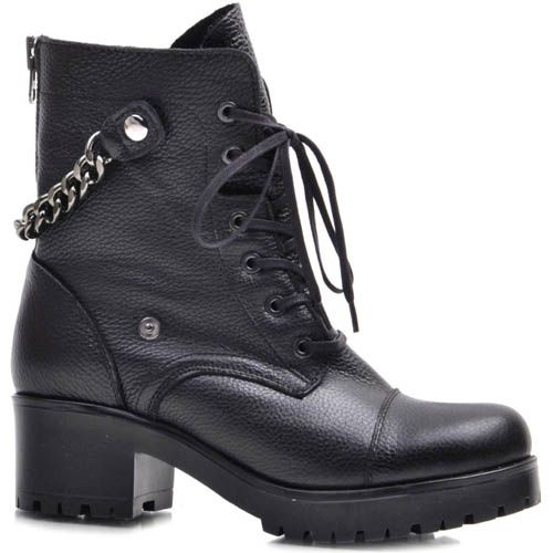 Ботинки Prego зимние черного цвета кожаные на шнуровке и с подвешенной цепочкой, фото