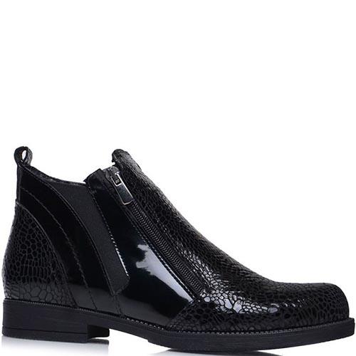 Ботинки Prego из лаковой кожи с фактурой кроко, фото