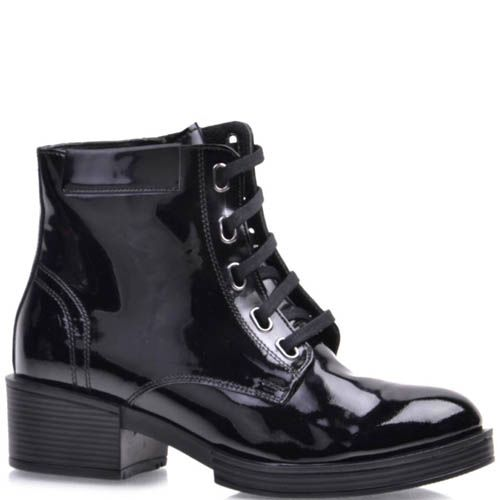 Ботинки Prego черные лаковые с прямоугольными отверстиями для шнурков, фото