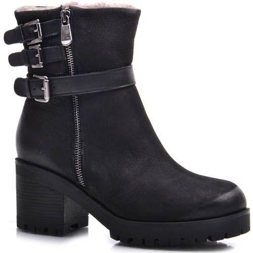 Ботинки Prego зимние черного цвета из нубука на меху с тремя пряжками и молнией, фото