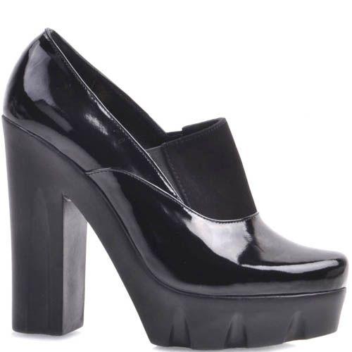 Туфли Prego черного цвета со вставкой-резинкой и толстым каблуком, фото