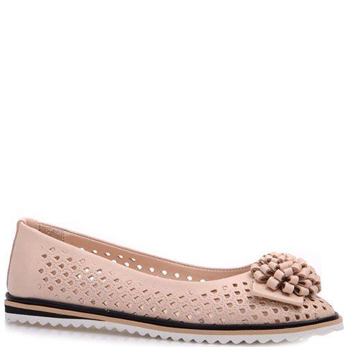 Кожаные туфли Prego бежевые со сквозной перфорацией, фото