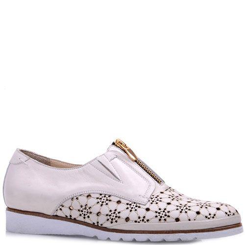Туфли Prego из натуральной перфорированной кожи бежевого цвета с коричневой полосочкой вдоль подошвы, фото