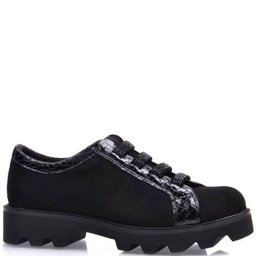 Ботинки Prego черные с зубчастой подошвой из замши и с вставками под кожу змеи, фото