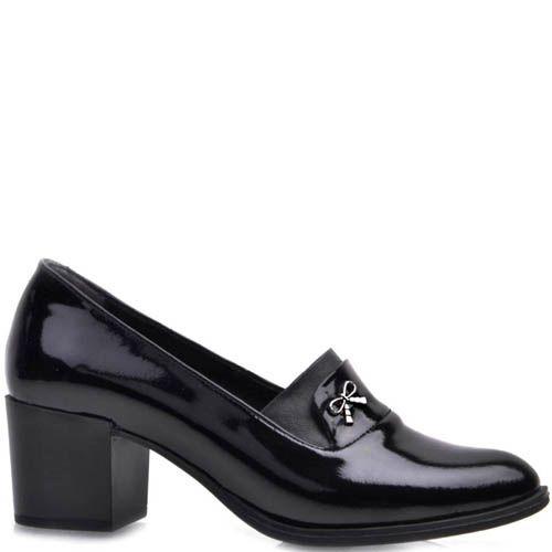 Туфли Prego лаковые черного цвета на устойчивом каблуке и с тонким металлическим бантиком, фото