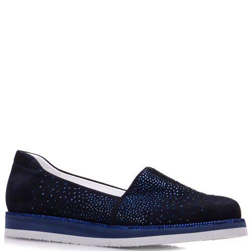 Замшевые туфли Prego синего цвета украшенные стразами, фото