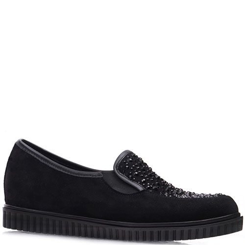 Туфли Prego из замши черного цвета украшенные разноцветными стразами, фото