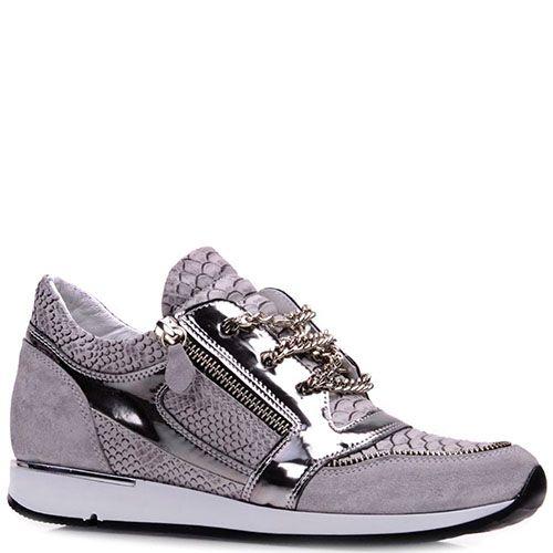 Кроссовки Prego из кожи и замши серого цвета с серебристыми вставками, фото