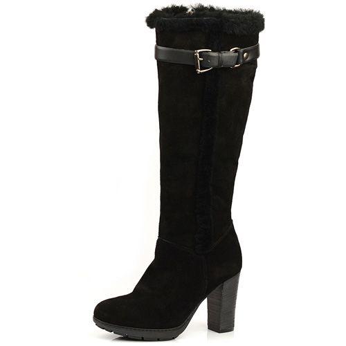 Замшевые черные сапоги на меху Tosca Blu, фото