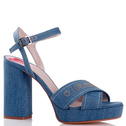 Синие босоножки Love Moschino на устойчивом каблуке, фото