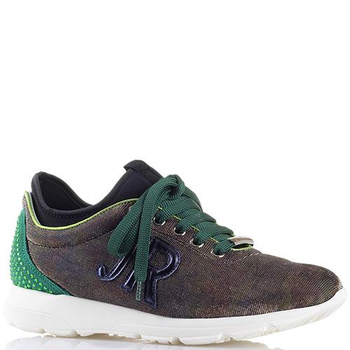 Кроссовки John Richmond с зеленой шнуровкой и пяточкой, фото