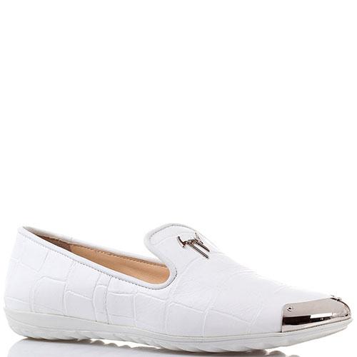 Туфли на плоском ходу Giuseppe Zanotti белого цвета из тисненной кожи, фото