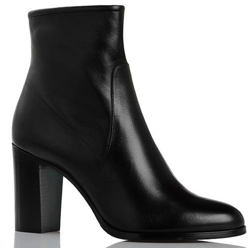 Зимние кожаные ботинки на толстом каблуке Santoni черного цвета, фото