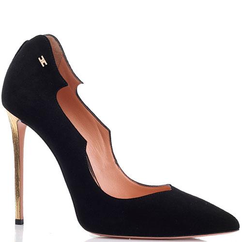Замшевые черные туфли Elisabetta Franchi на высоком каблуке золотистого цвета, фото