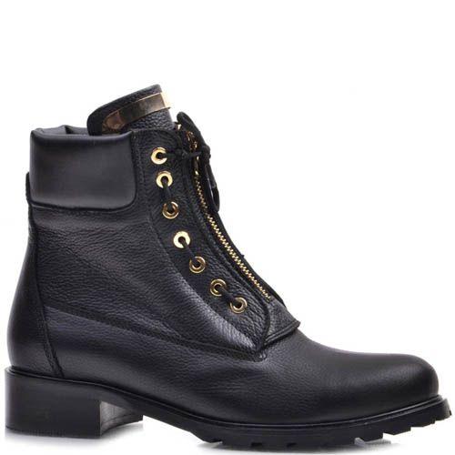Ботинки Prego зимние кожаные с оригинальной шнуровкой и с золотистой молнией, фото
