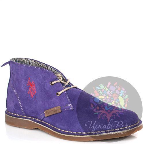 Ботинки U.S. Polo на низком ходу замшевые фиолетовые, фото
