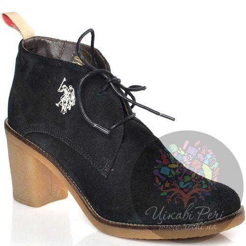 Ботинки U.S. Polo на среднем каблуке замшевые черные со шнуровкой, фото