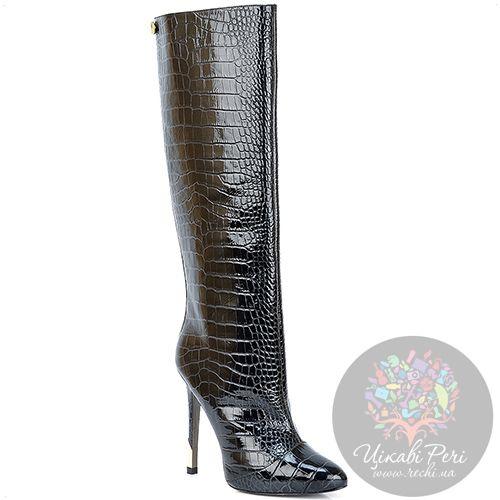 Сапоги Versace Collection на шпильке осенние роскошные с текстурой кроко, фото