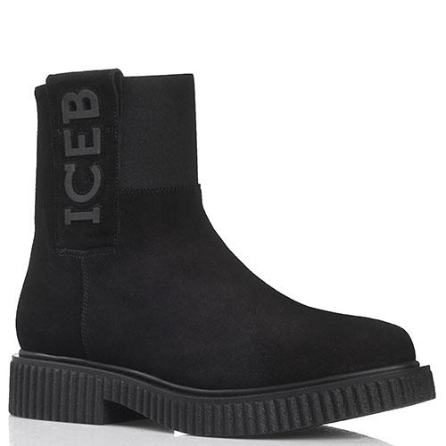 Замшевые черные ботинки Iceberg на платформе, фото