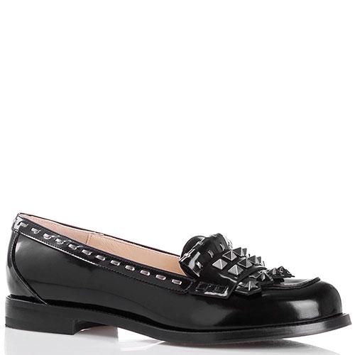 Туфли из полированной кожи черного цвета Nando Muzi декорированные шипами, фото
