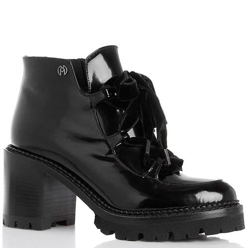 Ботильоны на толстом каблуке Nando Muzi из полированной кожи черного цвета, фото