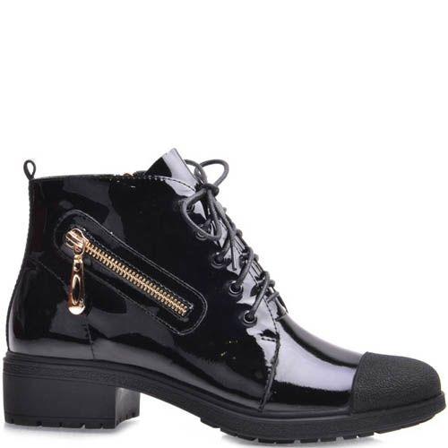 Ботинки Grado женские лаковые с декоративной молнией, фото